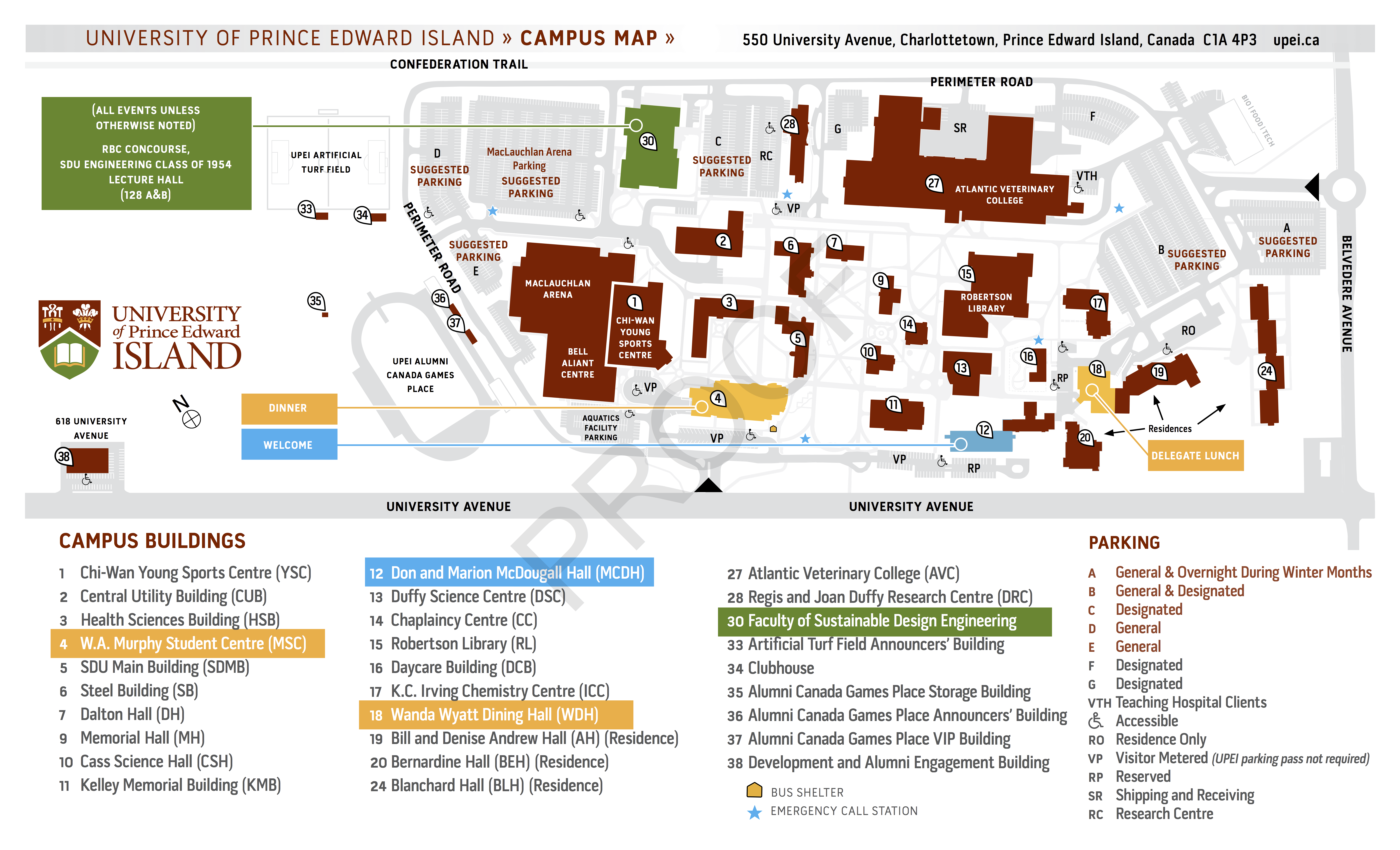 Map of UPEI campus with conference buildings indicated.